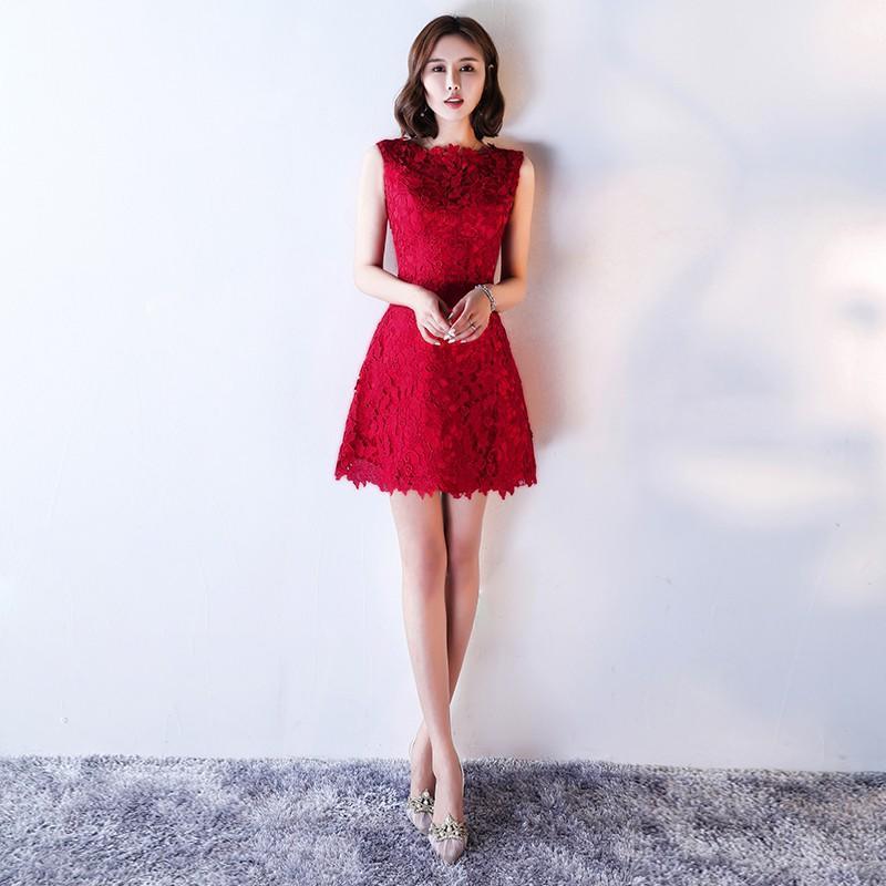 新娘敬酒服2017新款秋冬季紅色時尚結婚晚禮服女短款顯瘦韓式修身