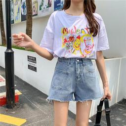 含棉寬松百搭毛邊牛仔短褲女夏季韓版高腰顯瘦闊腿褲熱褲子 FNZF-7122
