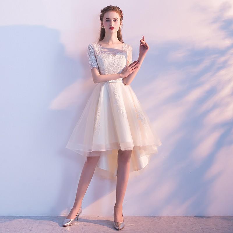 晚禮服女短款2017新款宴會優雅公主韓式小禮服裙前短后長聚會冬季