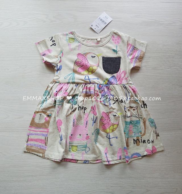 16夏季新品家女童連衣裙女寶寶純棉短袖塗鴉卡通印花連衣裙