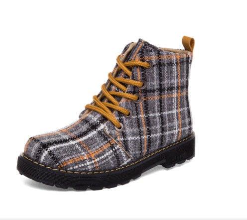 新款男式休閑鞋 英倫風男鞋馬丁鞋前系帶中幫格子男鞋