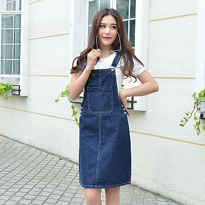 夏季款牛仔裙背帶裙吊帶半身裙子連衣裙 J-13509