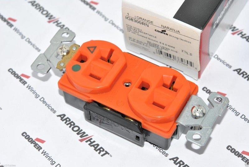 [特價中]美國COOPER IG8300RN 125V 20A 橘色 獨立接地 醫療級插座 送93101白鐵蓋板