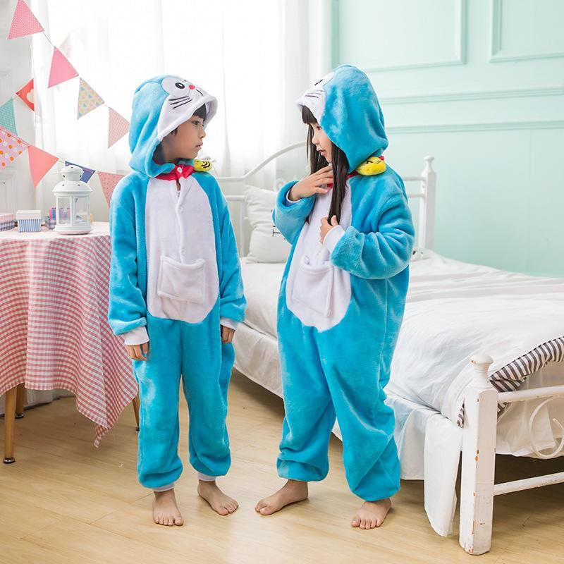 【四件免運】叮噹貓兒童睡衣 兒童卡通睡衣 法蘭絨兒童動物連身睡衣 道具服 兒童表演服角色扮演服如廁版