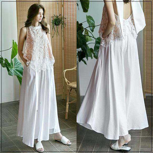韓國妹 【cb41140】 ❤ (頂級品真的超美!)美麗夏日超顯瘦寛褲裙❤ 2色
