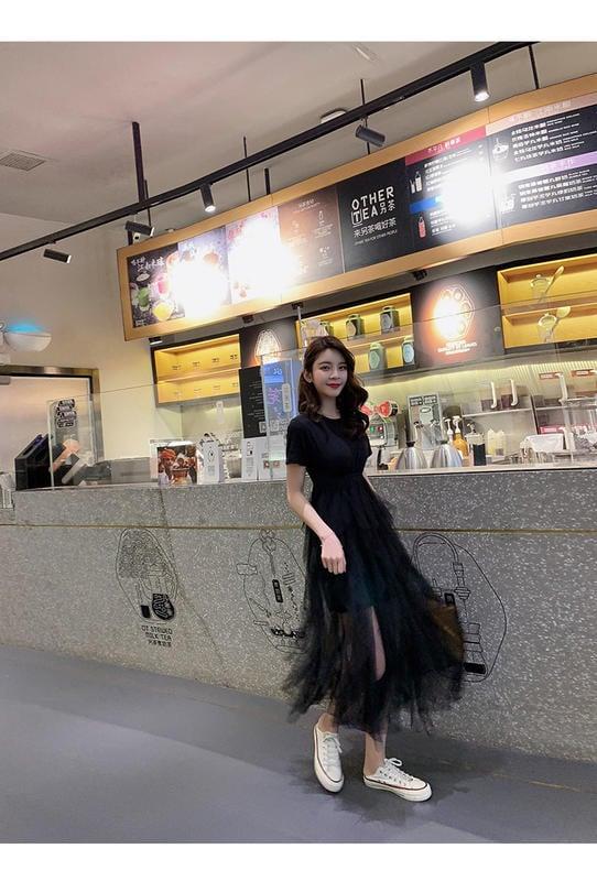 超仙新款女裝韓版夏季氣質甜美不規則網紗長裙連衣裙 NT$890尺寸:均碼