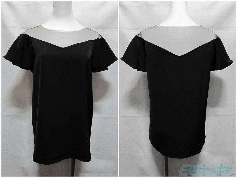 {就是愛二手} Mercci Boutique No.22(漢娜妞) 黑色 細網紗肩領設計 厚雪紡紗材質 短袖上衣 罩衫