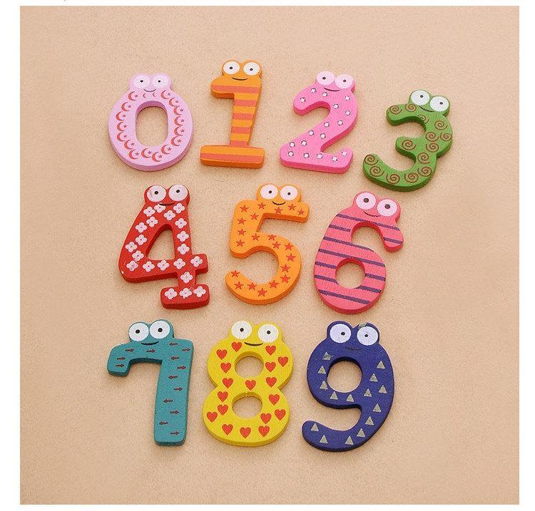 優質大號木製彩色數字貼 冰箱貼 一組10個數字另有英文貼 木製數字貼