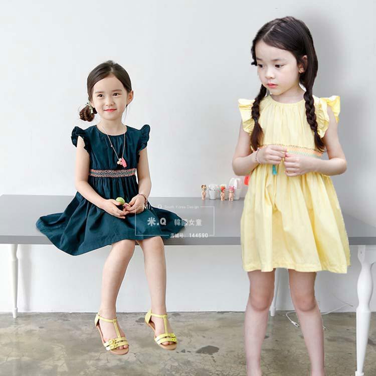 韓國2016女童連衣裙夏季新韓版度假款純棉無袖公主裙兒童沙灘裙子