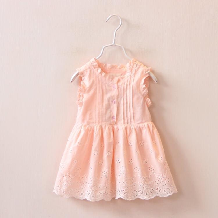 天使家 柔軟純棉兒童女童鏤空連衣裙 寶寶背心裙歐美童裝 16夏季