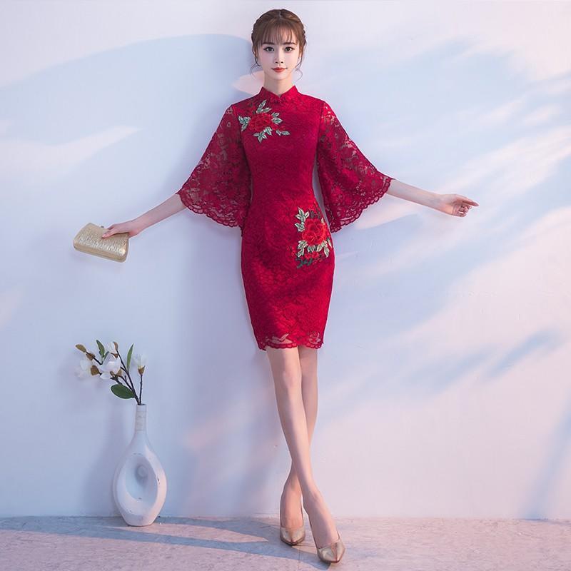 紅色敬酒服新娘秋冬季2017新款中國風結婚旗袍晚禮服女連衣裙短款