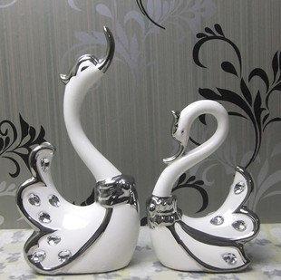 高檔陶瓷擺件婚慶禮品創意家飾工藝品天鵝情侶裝飾結婚禮物熱賣