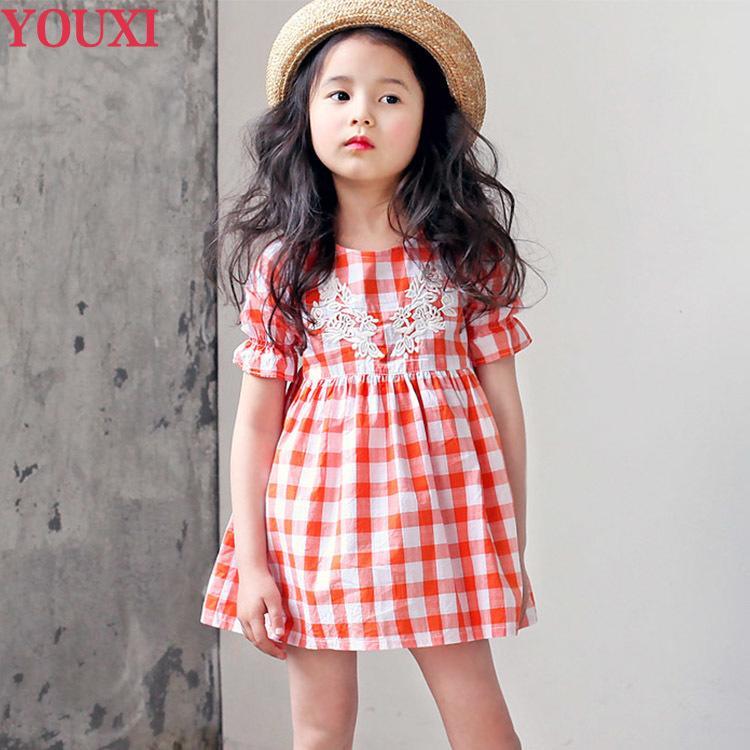 童裝中小女童寶寶韓國純棉格子連衣裙夏季時尚潮短袖娃娃裝連衣裙