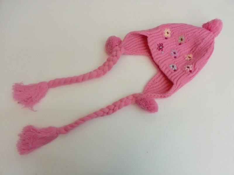 【班比納精品童裝】韓版可愛氣質小花針織毛線帽-粉【AA940027】