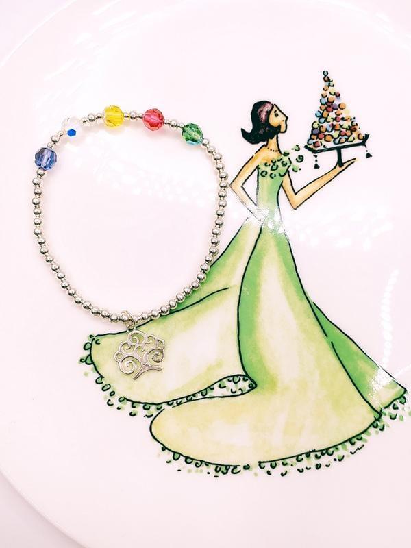 衝評價款♡五色五行奧地利水晶銀珠+垂飾s925純銀生命樹手鍊手鏈 創意時尚飾品開運旺運招褔