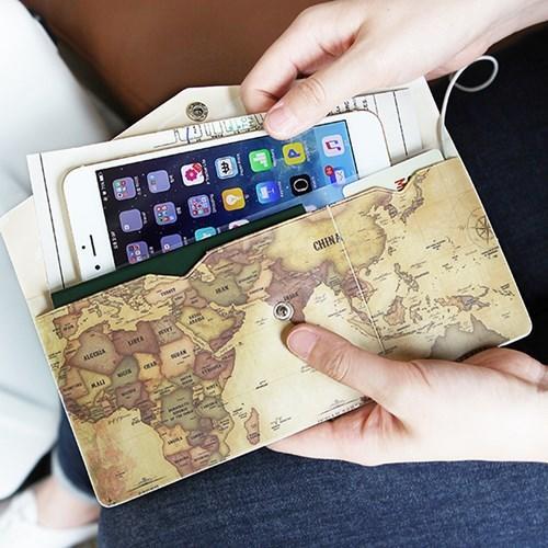 ♀高麗妹♀韓國 indigo INDIMAP 地圖密碼信封型機票護照手機收納包 (6款選)預購