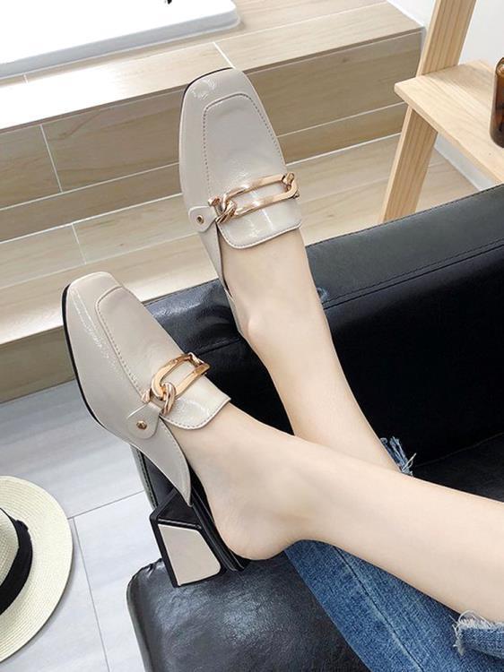 【可開發票】2019夏新款外穿中跟網紅半拖穆勒鞋女粗跟時尚包頭百搭涼拖鞋時尚—聚優購物網