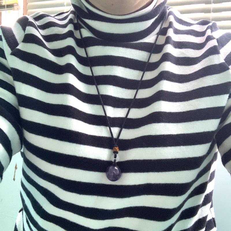 *~緹伊小舖~* 簡約單顆 深邃 紫水晶 中國繩長項鍊