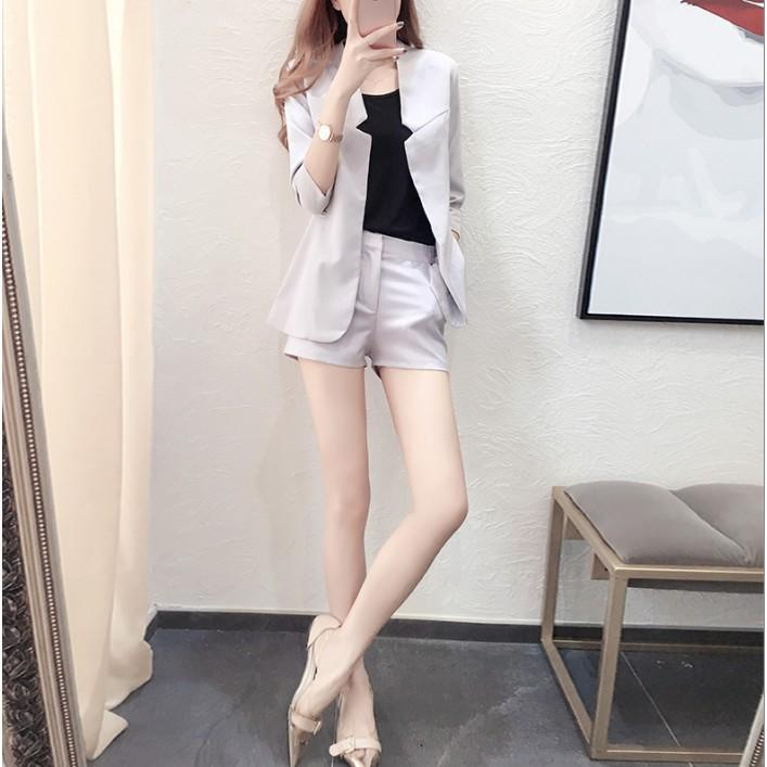 2017秋裝新款女裝韓版秋季氣質顯瘦小香風小西裝短褲時尚兩件套裝