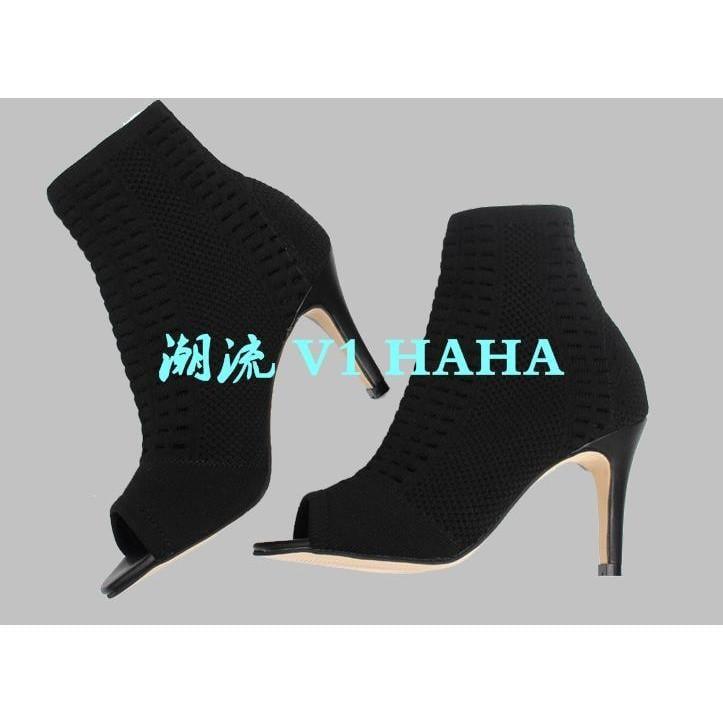 涼鞋2017新款女針織魚嘴高跟鞋Lin 彈力靴針織靴鏤空涼靴網靴潮