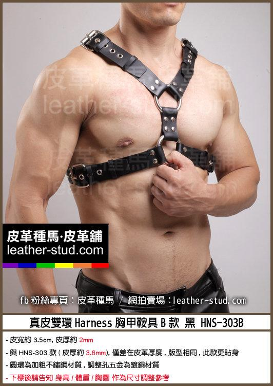 Leather Stud皮革種馬-真皮雙環Harness胸甲鞍具B款 黑 HNS-303-B