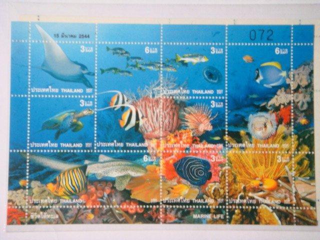 泰國2001年海洋生物紀念郵票套票小版張 -- 如圖示,保存良好,物超所值!