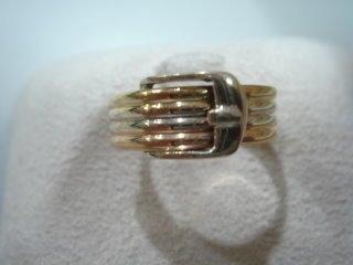 ◎挖寶庫◎純18K金(750)三色K金皮帶造型戒子(KC032)白K金、黃K金、玫瑰金