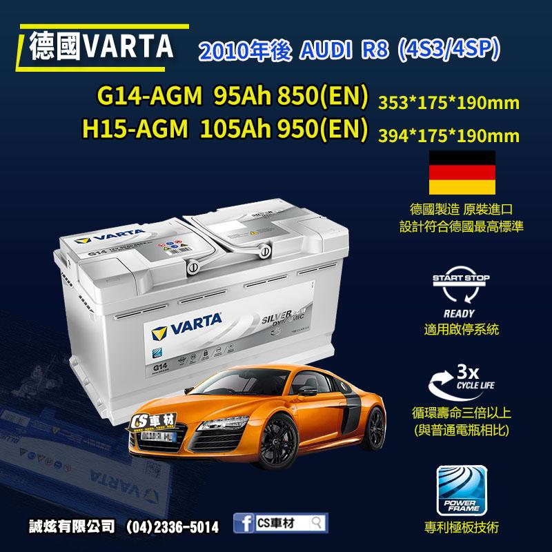 CS車材 - VARTA 華達電池 AUDI R8 (4S3/4SP) 10年後 G14 H15 AGM 代客安裝