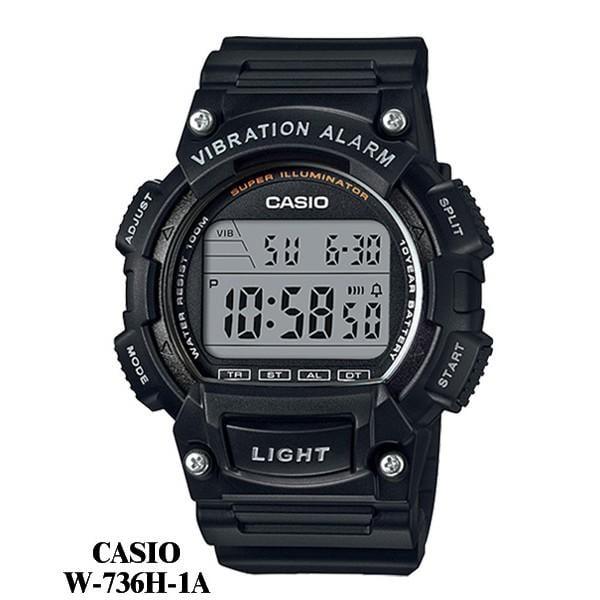 CASIO電子錶專賣店 大螢幕運動錶 震動鬧鈴LED燈百米防水潛水錶 按鍵音可關十年電池【網路最低↘】W-736H