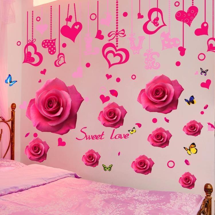999小舖牆紙自黏創意溫馨3D立體貼紙牆貼臥室女孩房間牆壁裝飾