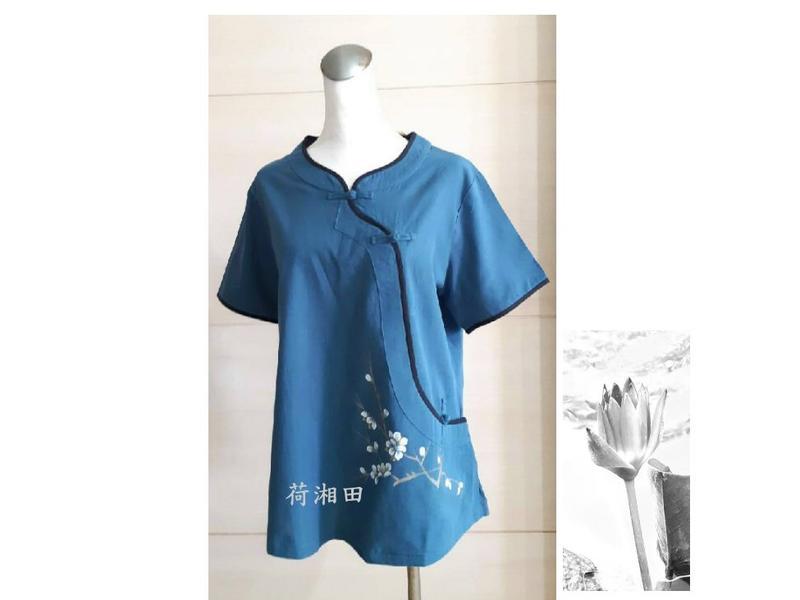 【荷湘田】夏裝--復古風斜襟盤扣暗袋手繪梅花寬鬆款舒適棉衣茶服