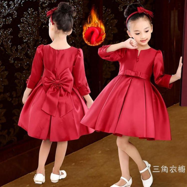 女童晚禮服花童小主持人演出服裝中大童公主裙秋裝寶寶中袖洋裝
