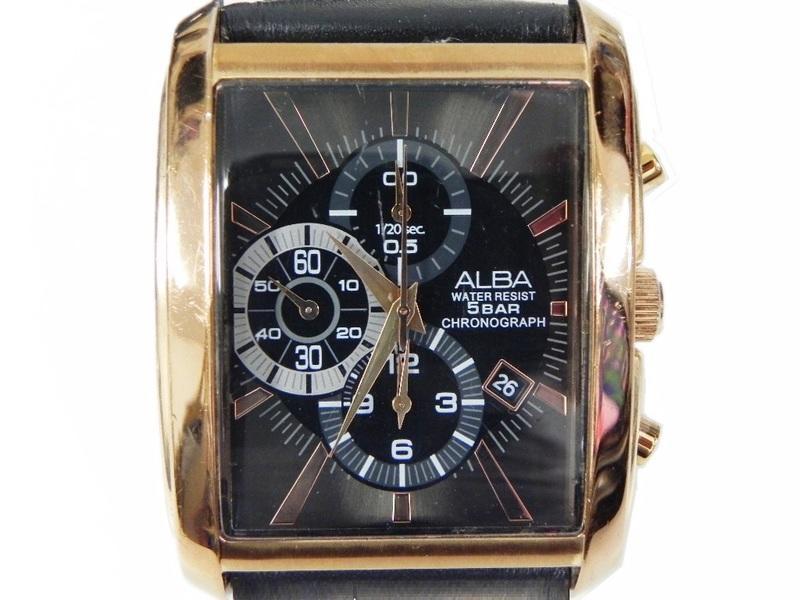 [專業模型] 三眼錶 [ALBA 790338]  SEIKO ALBA 雅柏方型大錶面玫瑰金[黑色面]時尚錶/軍錶/中