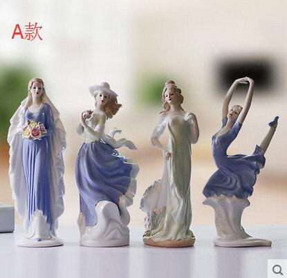 Vi 【獨家熱賣】陶瓷工藝品家居裝飾品歐式西洋女客廳擺設 西洋女之送花女孩擺件