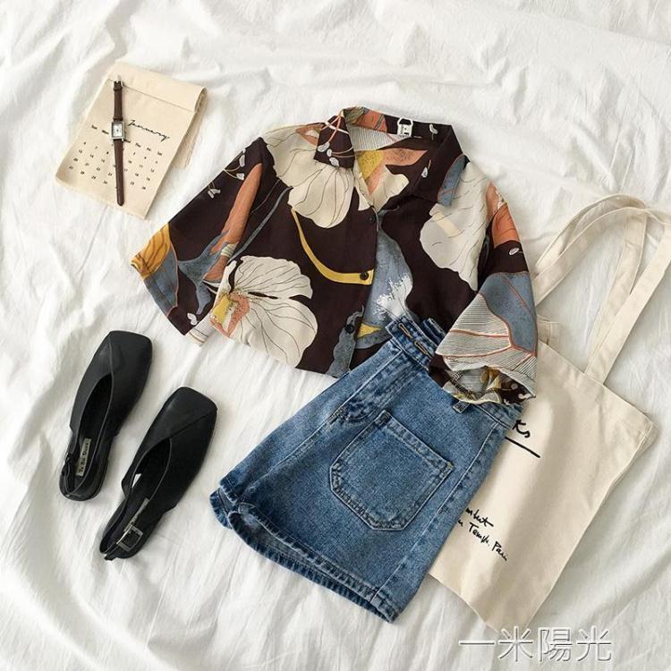 【可開發票】不規則港味襯衫夏季新款女裝韓版很仙的流行短袖洋氣上衣潮—聚優購物網