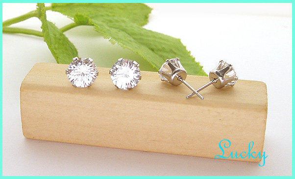【百合飾品屋】鋼針耳環~2ST60~鋼耳針~皇冠亮眼晶艷水鑽鋼針耳環~新款~多款尺寸~3mm賣場
