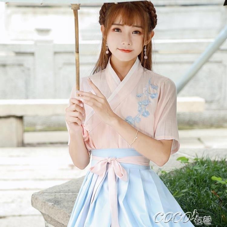 古裝 夏裝漢服女襦裙中國風古裝服裝仙女清新淡雅學生改良日常古風裙子igo