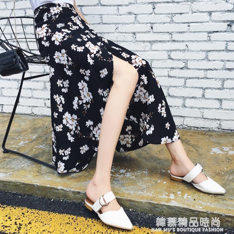 雪紡半身裙女夏韓版百搭一片式小碎花繫帶時尚高腰中長款沙灘裙子