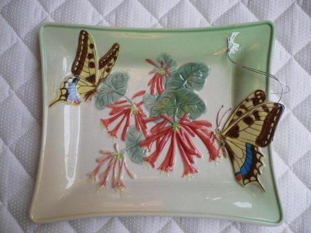 [estilo艾斯堤洛]JARLL系列-加拿大進口陶瓷彩繪立體蝴蝶盤子/點心盤/蛋糕盤/沙拉盤/三明治盤/水果盤/擺飾