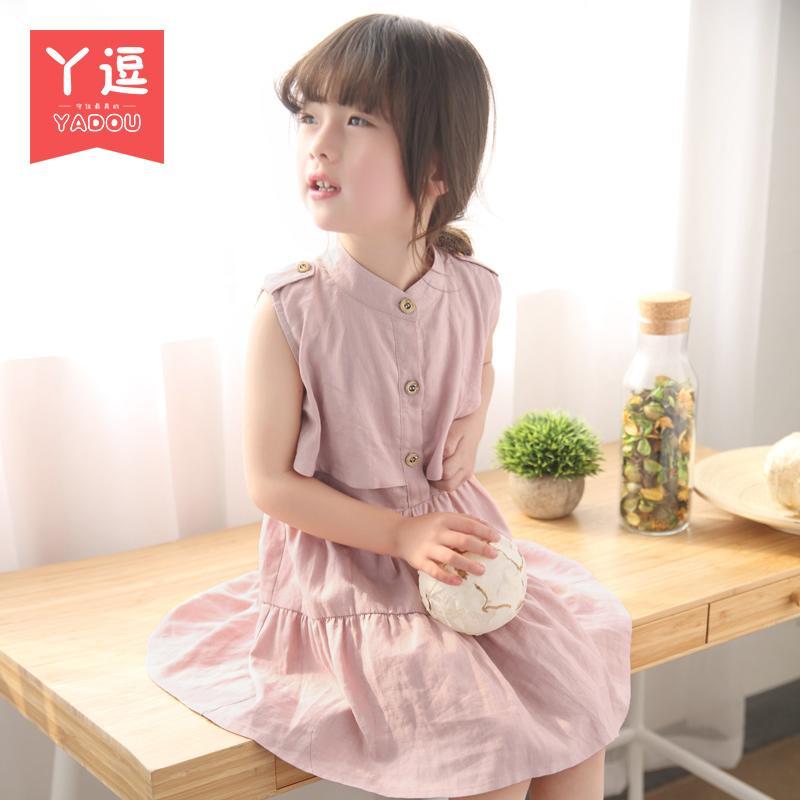 童裝女童夏裝女寶寶夏季連衣裙韓版兒童公主裙子小女孩字裙短袖