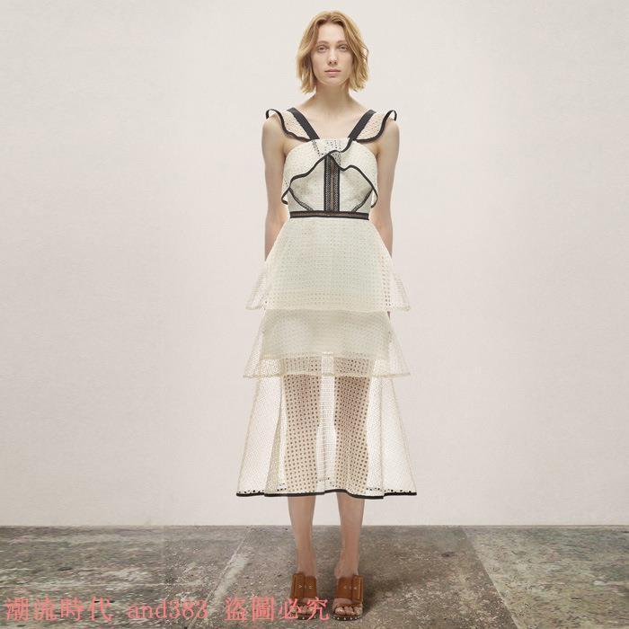 2017年夏 定制SP黑色拼接荷葉邊蕾絲鏤空高腰人氣連衣裙