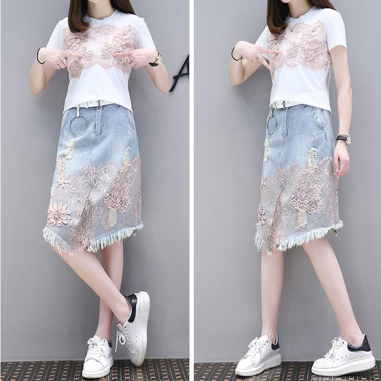 2017新款女裝夏裝兩件套短袖蕾絲牛仔裙刺繡連衣裙休閒時尚套裝女