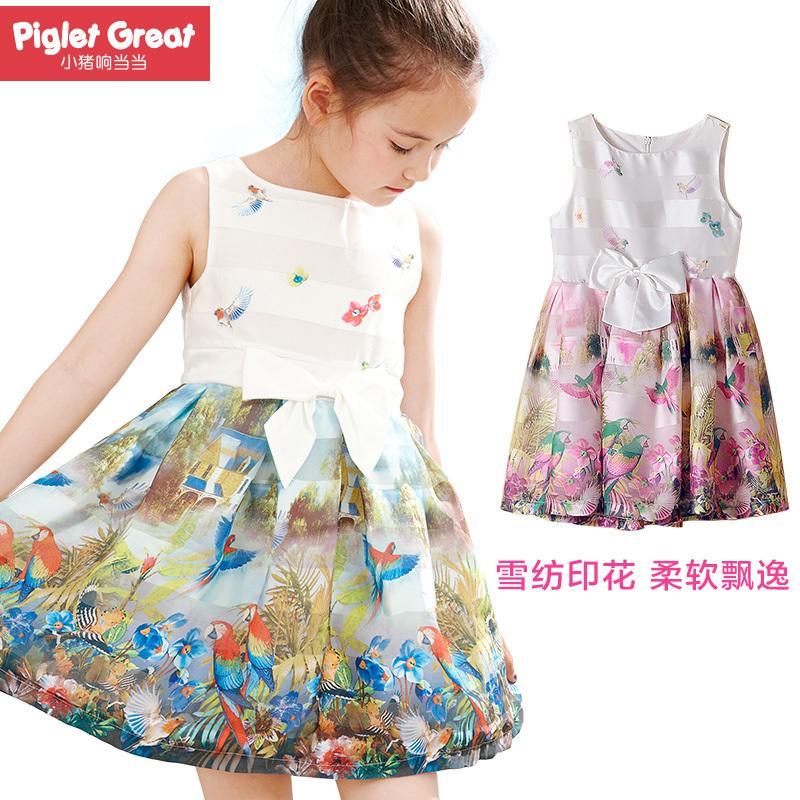 兒童連衣裙雪紡印花寶寶裙子 小豬響當當2016夏季新女童裝公主裙