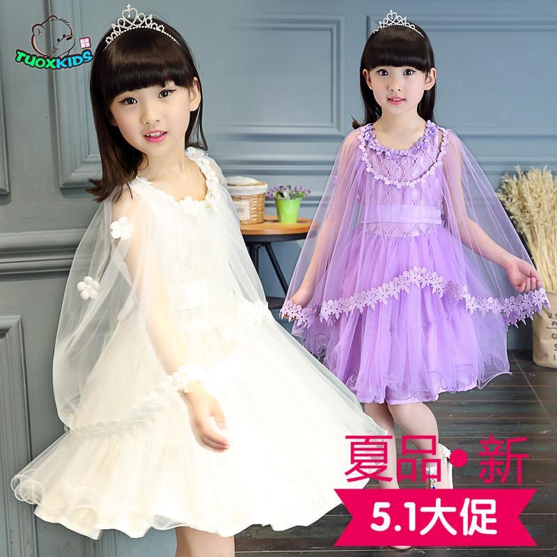 2016童裝夏季女童連衣裙中大童女孩短袖紗裙兒童韓版公主頭紗裙子