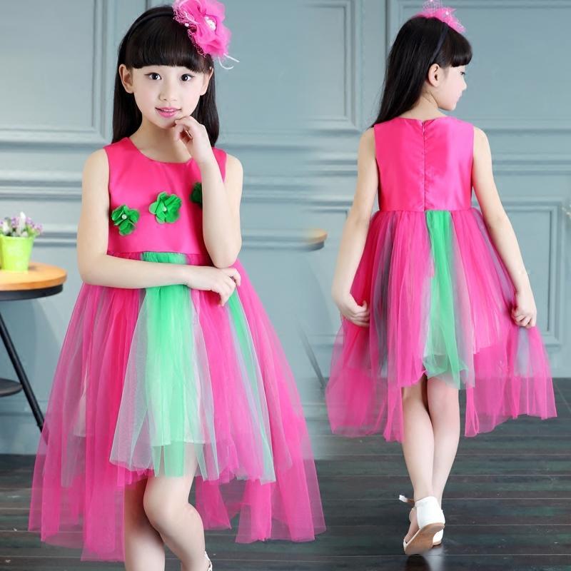 童裝女童夏季2016新款韓版公主裙演出禮服兒童無袖連衣裙蓬蓬紗裙