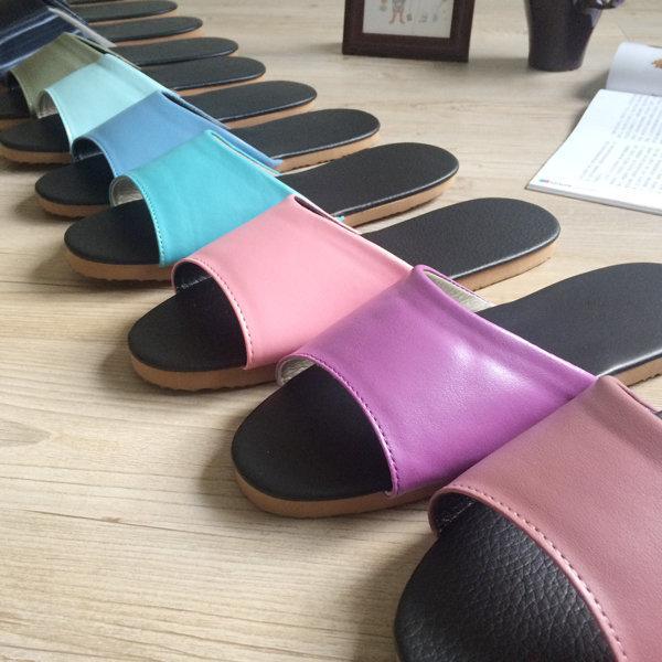 台灣製造-簡約系列-純色皮質室內拖鞋 -未滿10雙下單區