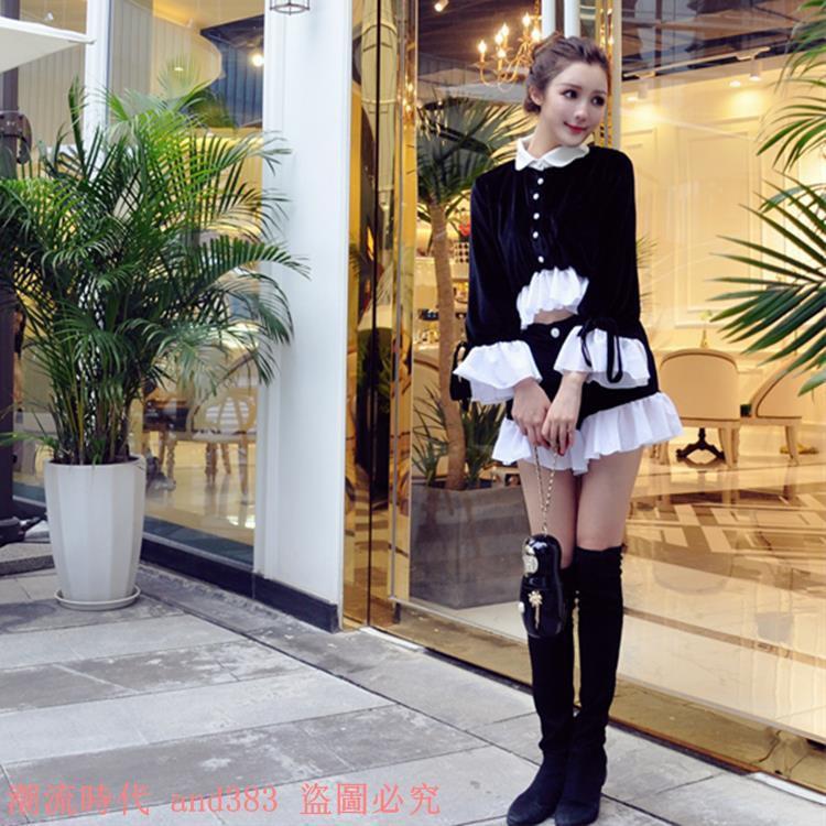 小香風甜美俏皮黑白撞色珍珠扣荷葉邊短款雙面絲絨衫+短褲套裝