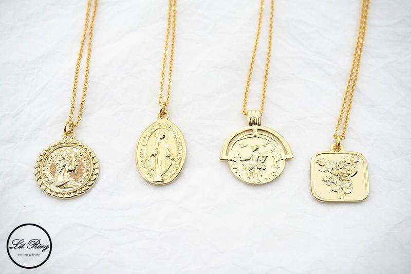 【Lit Ring】18k金銅鍍錢幣項鍊│精緻 金幣 錢幣 人像 女王 頭像 玫瑰花 聖母 墜子項鍊 鎖骨鍊 毛衣鍊