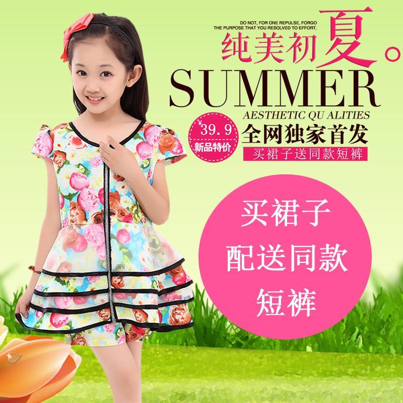 童裝新款純棉連衣裙 女童韓版棉麻蛋糕裙 兒童2016夏季公主蓬蓬裙