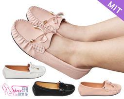 包鞋【鞋鞋俱樂部】【052-2234】台灣製MIT.蝴蝶結莫卡辛平底包鞋.黑/白/粉